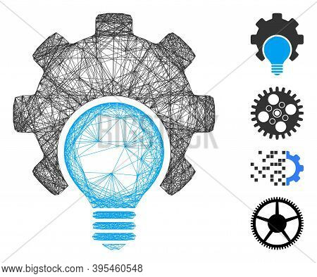 Vector Wire Frame Bulb Configuration Gear. Geometric Wire Frame 2d Net Made From Bulb Configuration