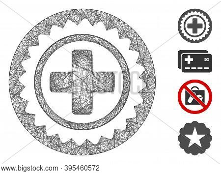Vector Network Medical Cross Stamp. Geometric Linear Carcass Flat Network Generated With Medical Cro