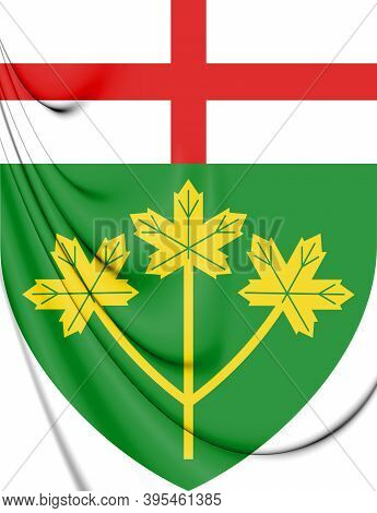 3d Ontario Province Coat Of Arms, Canada. 3d Illustration.