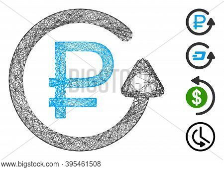 Vector Network Rouble Chargeback. Geometric Wire Carcass 2d Network Generated With Rouble Chargeback