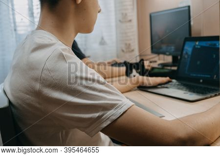 Esports, Competition, Gaming, Multiplayer, Live Streaming. Two Boys Playing Online Video Game On Pla
