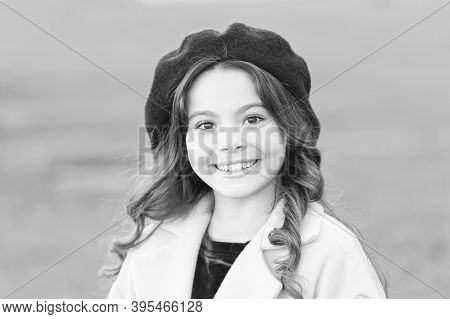 Fashionable Girl Curly Hair On Sunny Autumn Day Close Up. Stunning Charisma. Girl Adorable Kid Walk
