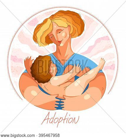 Adoption Child Vector Illustration In Special Personal Style, Accepted Adopted Baby, Parenting Famil