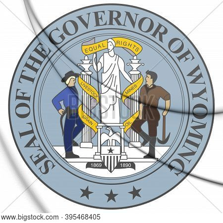 3d Governor Of Wyoming Seal, Usa. 3d Illustration.