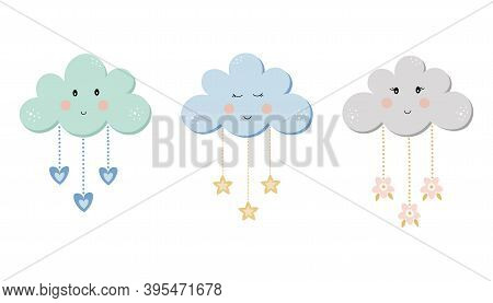 Colorful Clouds Set For Kids. Children Collection In Pastel Tender Colors. Vector Cartoon Illustrati
