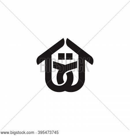 Abstract Letter Bd Home Symbol Linked Overlap Logo Vector