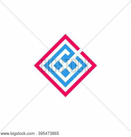 Letter Ce Square Geometric Line Design Logo Vector
