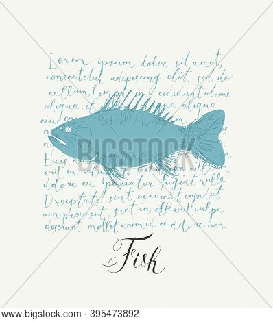 Vector Banner Or Menu For Seafood Restaurant Or Shop. Hand-drawn Illustration With A Fish And Inscri
