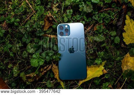 Paris, France - Nov 11, 2020: Apple Computers Background The New Iphone 12 Pro Smartphone With 5g An