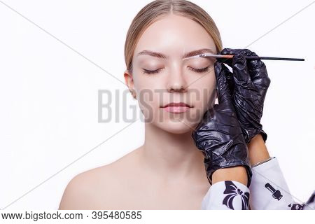 Master Makes An Eyebrows Correction To A Young Woman. Henna Coloring Procedure In A Beauty Salon. Lo
