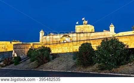 Santa Luzia Fort In Elvas At Night - Alentejo, Portugal