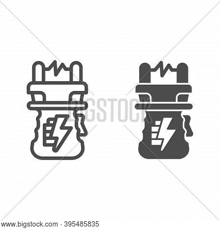 Stun Gun Line And Solid Icon, Self Defense Concept, Electric Shock Sign On White Background, Weapon