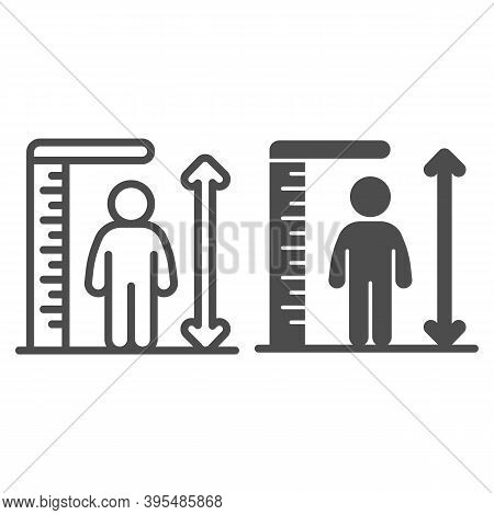 Ruler And Human Height Line And Solid Icon, Aquapark Concept, Man Tall Scale Sign On White Backgroun