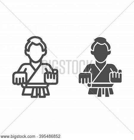 Karate Teacher Line And Solid Icon, Self Defense Concept, Karate Kick Sign On White Background, Mart