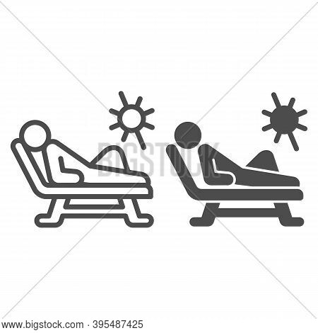 Beach Chair And A Man Relaxing In Sun Line And Solid Icon, Aquapark Concept, Man Sunbathing Sign On