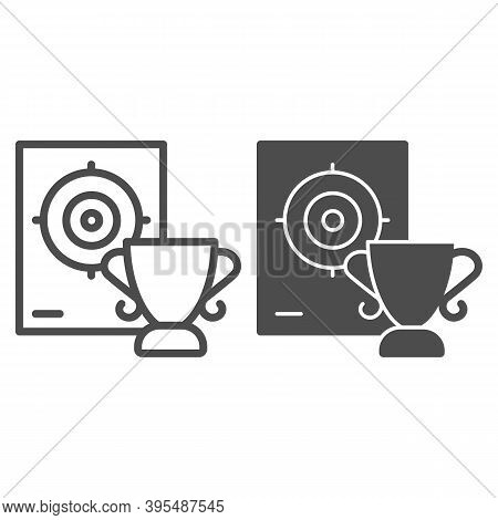 Cup And Target Line And Solid Icon, Self Defense Concept, Shooting Range And Goblet Sign On White Ba