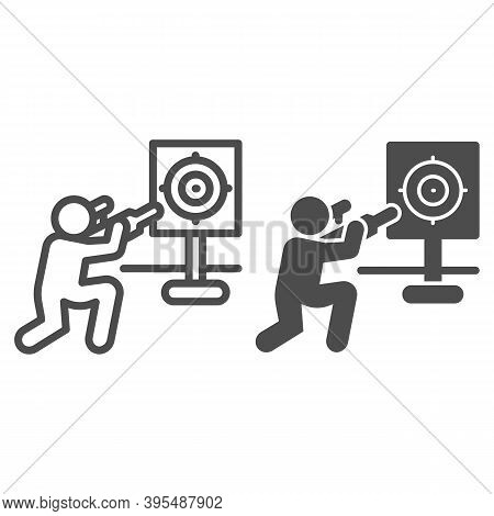 Shooter And Target Line And Solid Icon, Self Defense Concept, Shooting Range Sign On White Backgroun