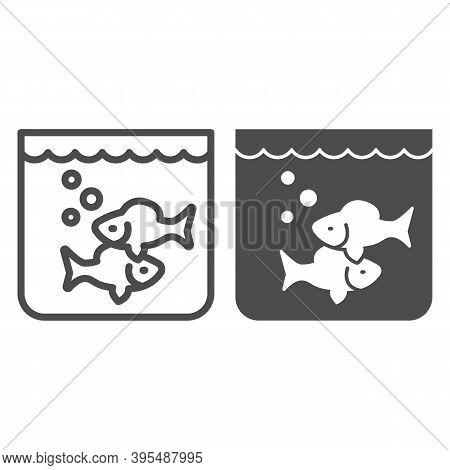 Aquarium With Fish Line And Solid Icon, Fish Market Concept, Underwater Aquarium House Sign On White