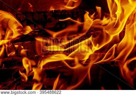 Background Of Flames, Burning Wood, Firewood In The Fireplace, Wildfire.