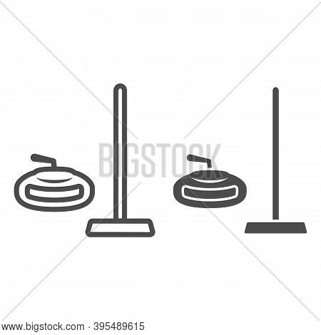 Curling Equipment Line And Solid Icon, Winter Sport Concept, Curling Stone And Rectangular Broom Sig