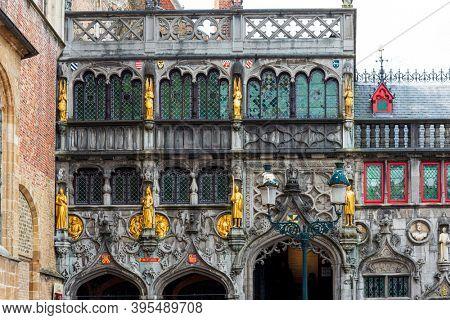 BRUGES, BELGIUM - April 13, 2018: Basilica of the Holy Blood in Bruges, Belgium