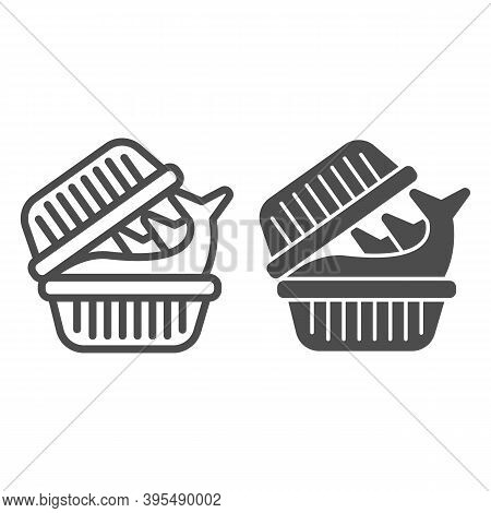 Fish In Plastic Box Line And Solid Icon, Fish Market Concept, Trout Pack Sign On White Background, P