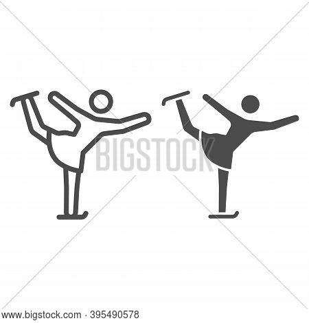 Figure Skater Performs Exercise Line And Solid Icon, Winter Sport Concept, Figure Skating Symbol On