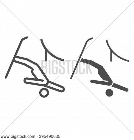 Jumping Freestyle Line And Solid Icon, Winter Sport Concept, Freestyle Skiing Sign On White Backgrou