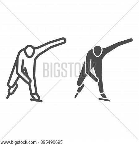 Skater Line And Solid Icon, Winter Sport Concept, Speed Ice Skating Sign On White Background, Ice Sk