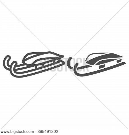Sleigh For Luge Line And Solid Icon, Winter Sport Concept, Snow Sleigh Sign On White Background, Sle