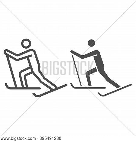 Cross-country Skiing Line And Solid Icon, Winter Sport Concept, Skier Sign On White Background, Cros