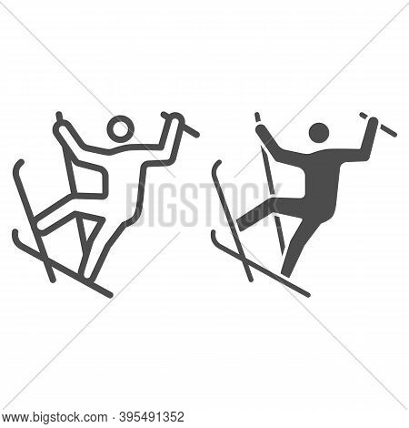 Freestyle Skiing Line And Solid Icon, Winter Sport Concept, Ski Sport Sign On White Background, Free