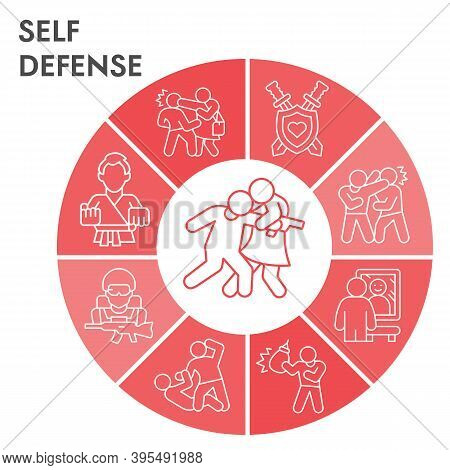 Modern Self Defense Infographic Design Template. Defense Against Attackers Infographic Visualization