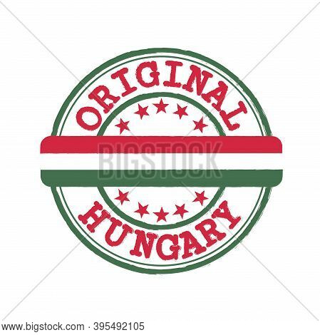 Vector Stamp Of Original Logo With Text Hungary And Tying In The Middle With Nation Flag. Grunge Rub