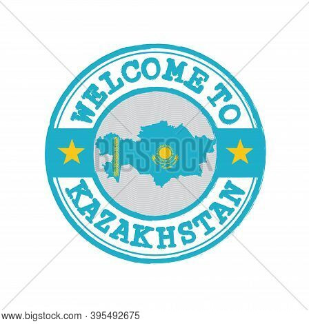 Vector Stamp Of Welcome To Kazakhstan With Map Outline Of The Nation In Center. Grunge Rubber Textur