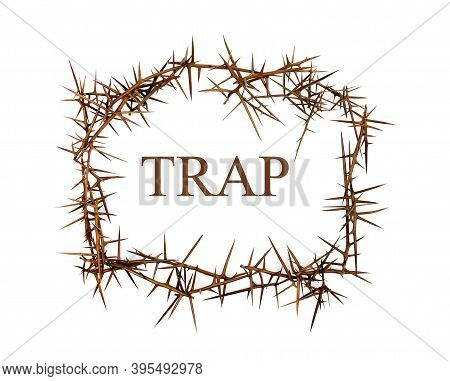 The Word Trap Among The Thorns. Trap Concept.