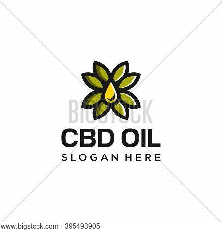 Cbd Oil Logo. Hemp Oil Cannabis Leaf. Branding For Cbd Oil Products Distributor Sales Marketing Food