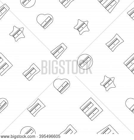 Vector Seamless Pattern Of Icons, Different Types Of Pencil Sharpeners, Black And White Linear On A