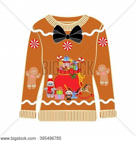 Christmas Party Ugly Sweater With Gifts Bag Vector Illustration