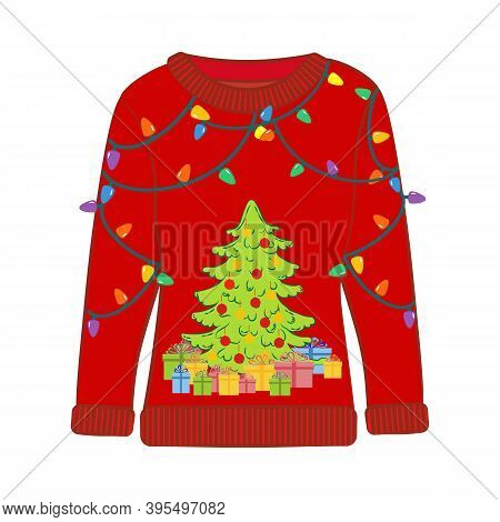 Christmas Ugly Sweater With Christmas Tree Vector Illustration