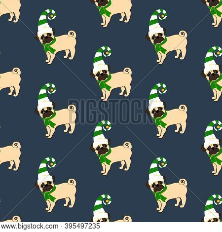 Pug In Christmas Costume Vector Seamless Pattern