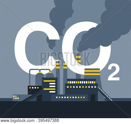 Co2 Emissions In Industry Illustration - Harmful Air Carbon Contamination Emblem With Smoking Pipes