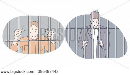 Jail, Prison, Arrest Concept. Young Angry Unhappy Depressed Men Cartoon Character Standing In Prison