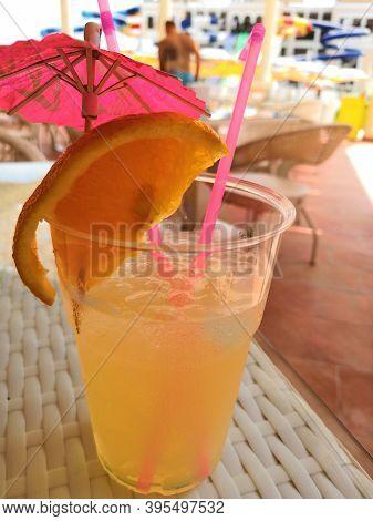Lemonade Citrus Mint Nonalcoholic Plastic Cup White Wooden Background.