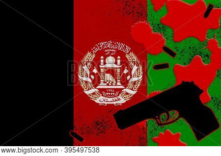 Afghanistan Flag And Black Firearm In Red Blood. Concept For Terror Attack Or Military Operations Wi
