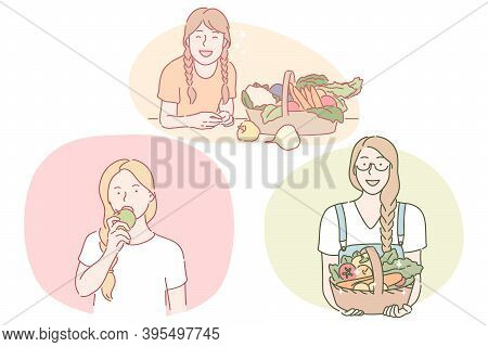 Healthy Food, Clean Eating, Vegetarian Concept. Young Positive Women Cartoon Characters Eating Fresh
