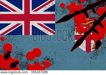 Fiji Flag And Rocket Launchers With Grenades In Blood. Concept For Terror Attack And Military Operat