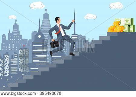 Businessman Climbs Up Ladder To Money. Goal Setting. Smart Goal. Business Target. Achievement And Su