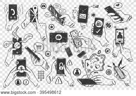 Hands With Smartphones Doodle Set. Hand Drawn Human Palms Hold Mobile Phones Touchscreen Application