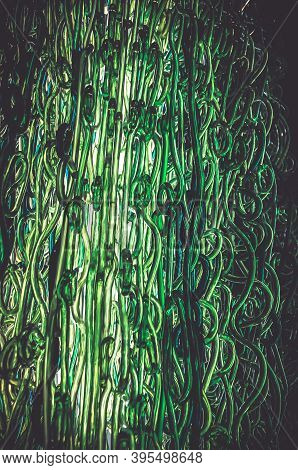 Abstract Green Glasses Design Hair Shape. Shades Of Green Pattern Art Design.